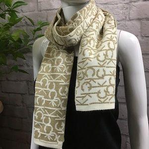 🌻SALE! 3/$20 Calvin Klein cream & gold logo scarf